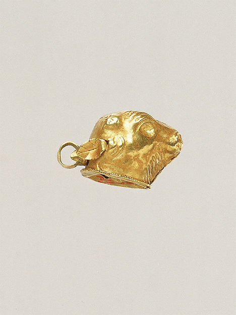 Gold calf-head pendant