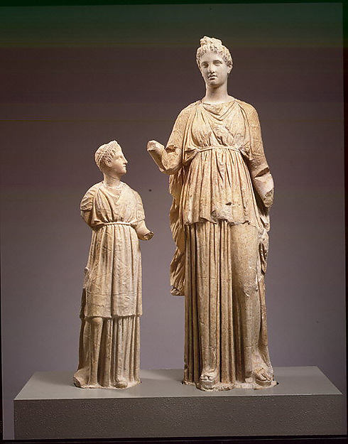 Marble funerary statues of a maiden and a little girl