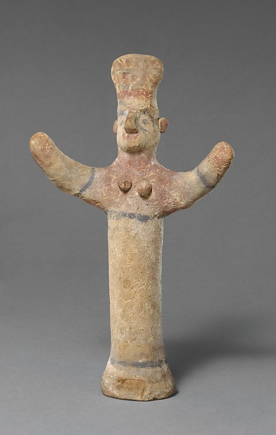 "Standing female figurine of the ""goddess with uplifted arms"" type"