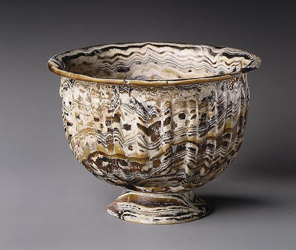 Ribbed mosaic glass bowl with base ring