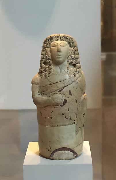 Terracotta aryballos (perfume vase) in the form of a human figure