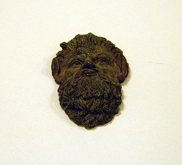 Bronze handle attachment in the form of a satyr mask