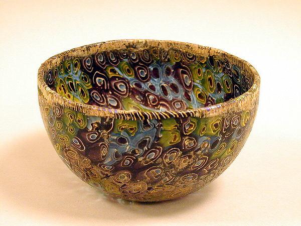 Glass hemispherical mosaic bowl