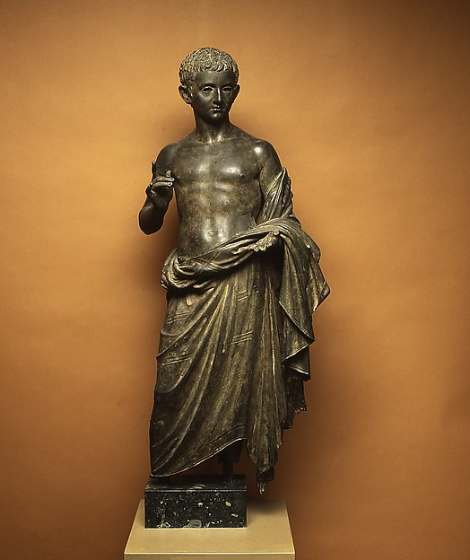 Bronze statue of an aristocratic boy