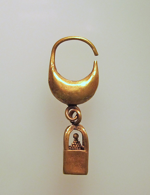 Earring, boat-shaped with cage and ball pendant