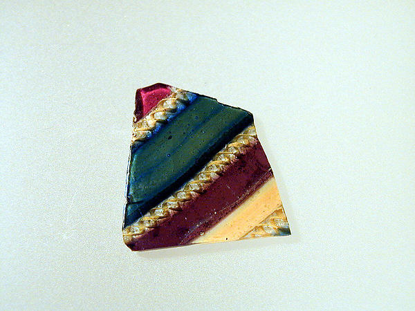 Glass fragment of a striped mosaic bowl