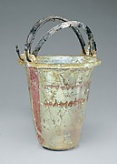 Glass situla (bucket) with silver handles