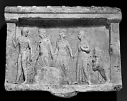 Marble relief of Hermes, three nymphs, and Acheloös