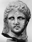 Marble head of a woman from a grave marker