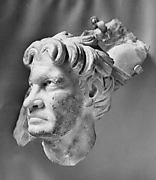 Marble sarcophagus fragment: head of a Gaul