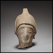Male head wearing a helmet