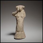 Seated female figurine of the dea gravida type
