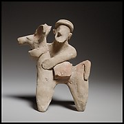 Terracotta statuette of a donkey and rider