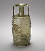 Cylindrical glass bottle