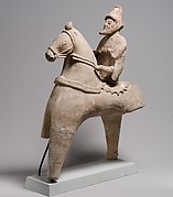 Terracotta statuette of a horse and rider