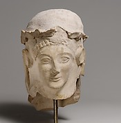 Terracotta head with wreath