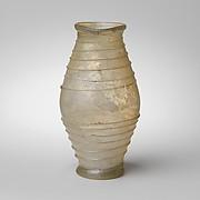 Glass barrel-shaped jar