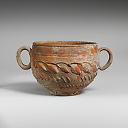 Terracotta scyphus (drinking cup) with barbotine decoration