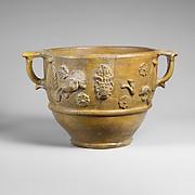 Fragmentary terracotta scyphus (drinking cup)
