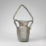 Glass hexagonal jar with basket handle