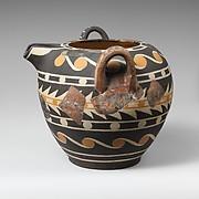 Terracotta bridge-spouted jar