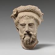 Terracotta head of a bearded man