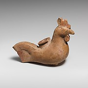Terracotta vase in the form of a rooster