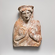 Terracotta relief with bust of a woman