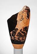 Fragmentary terracotta loutrophoros (ceremonial vase for water)