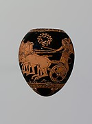 Terracotta oon (egg) with a youth abducting a woman