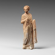 Terracotta statuette of a draped woman
