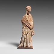 Terracotta statuette of a draped woman