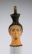 Terracotta oinochoe (jug) in the form of a woman's head