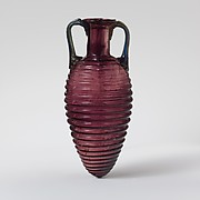Glass amphoriskos with horizontal ribs