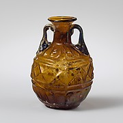 Glass amphoriskos (perfume flask) with band of lozenges