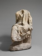 Marble statue of a draped seated man
