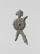 Lead figure of a warrior with a spear and shield