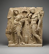Limestone funerary relief