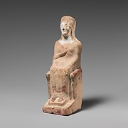 Terracotta statuette of a seated woman