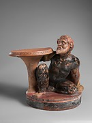Terracotta stand with a satyr