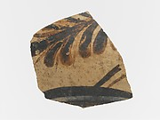 Terracotta vessel fragment with floral motif and band