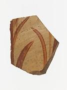 Terracotta vessel fragment with grass motif