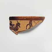 Fragment of a terracotta kantharos (drinking cup with high handles)