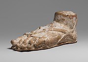 Terracotta left foot and ankle with sandal