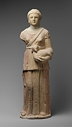 Limestone statue of Artemis with quiver and fawn