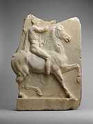 Marble relief of a horseman