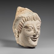 Terracotta head of a woman from a statue