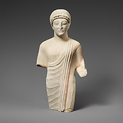 Limestone statuette of a beardless male votary with a diadem