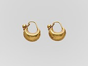 Pair of gold boat-shaped earrings