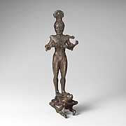 Bronze mirror support in the form of a nude girl